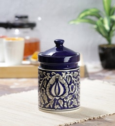 Vareesha Hand Painted Blue Moroccan Ceramic Pickle Jar