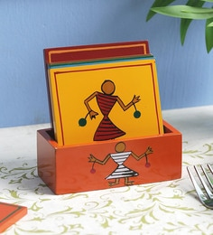 Vareesha Hand Painted Warli Multicolored Wooden Coasters - Set Of 7