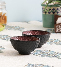 Vareesha Honeycomb Black & Purple Ceramic Bowls - Set Of 2
