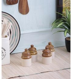 Vareesha Miniature Ceramic Pickle Jars With Lids - Set Of 4
