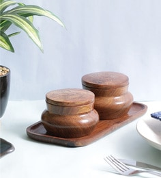 Vareesha Sheesham Wood Gold Enamelled Tray With Jars