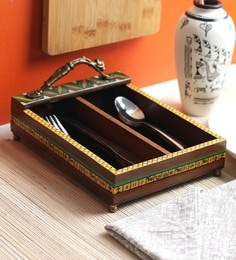 Vareesha Sheesham Wood With Brass Handle Cutlery Holder
