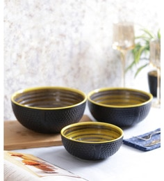 Vareesha Steel Grey Yellow Ceramic Bowls - Set Of 3