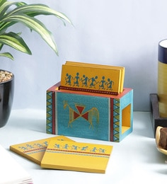 Vareesha Warli Wooden Multicolour Coasters With Holder - Set Of 6