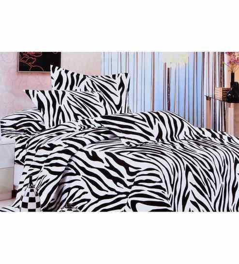 Valtellina Zebra Print Double Bedsheet With Two Pillow Covers