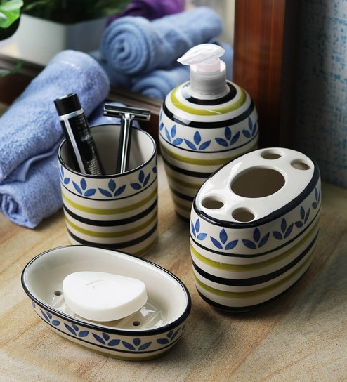 VarEesha Blue Ceramic Leaf Bathroom Accessories Set   Set Of 4