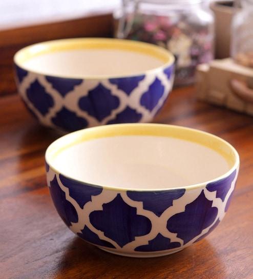 Vareesha Blue Ceramic Serving Bowls - Set Of 2