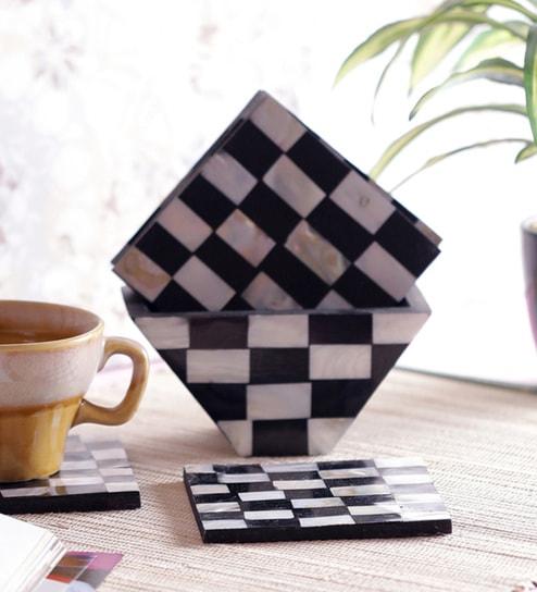 Vareesha Chess Designed Sea Shells Coasters With Holder - Set Of 6
