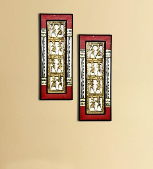 Buy VarEesha Ethnic Red Dhokra Wall Decor Set Online - Indian ...