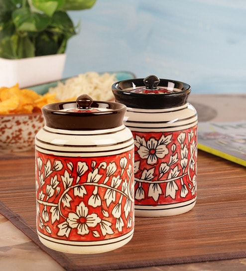 Buy Vareesha Hand Painted Mughal Red Ceramic Pickle Jar With Lids