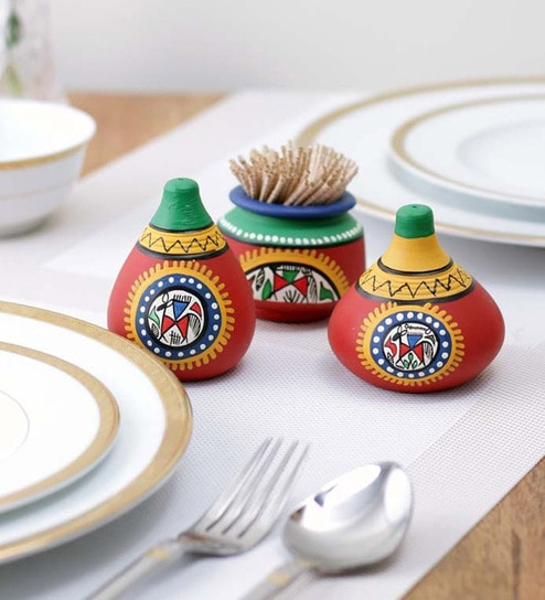 VarEesha Multicolor Terracotta Salt and Pepper Set with Toothpick Holder