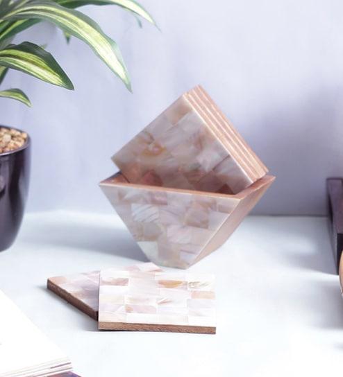 Vareesha Sea Shells Coasters With Holder - Set Of 6