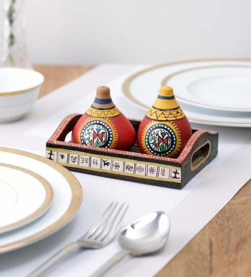Vareesha Terracotta Multicolour 30 ML (Each) Salt & Pepper Shaker - Set of 3