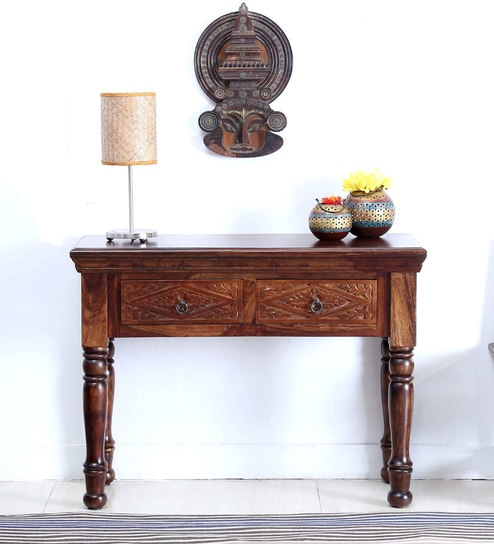 Vayaka Console Table in Provincial Teak Finish by Mudramark