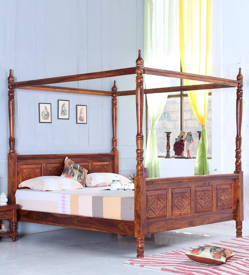 Buy Vayaka Solid Wood King Size Poster Bed In Honey Oak Finish By