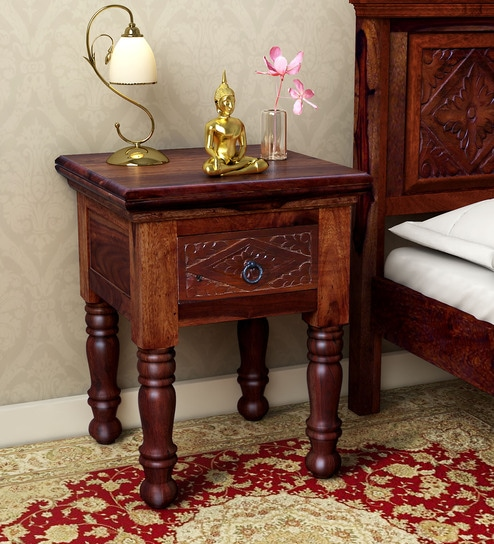 sale retailer bb204 f094b Vayaka Solid Wood Bedside Table in Honey Oak Finish by Mudramark