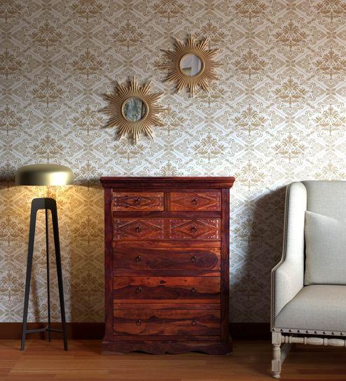 cozy fresh f7810 339f3 Vayaka Solid Wood Chest of Drawers in Honey Oak Finish by Mudramark