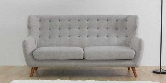 Valencia Three Seater Sofa in Light Grey Colour by CasaCraft
