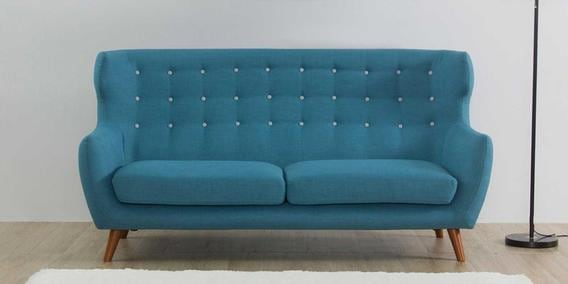 Valencia Three Seater Sofa in Ocean Blue Colour by CasaCraft