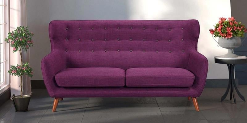 Valencia Three Seater Sofa in Deep Sangria Colour by CasaCraft