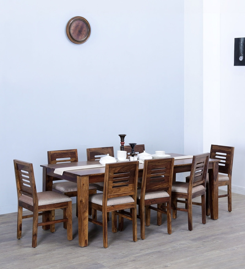 Valencia Eight Seater Cushioned Dining Set in Provincial Teak Finish by Woodsworth
