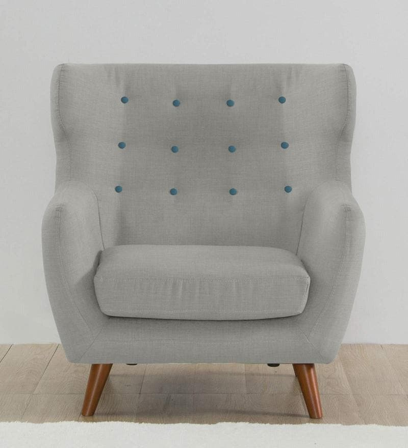 Valencia One Seater Sofa in Light Grey Colour by CasaCraft
