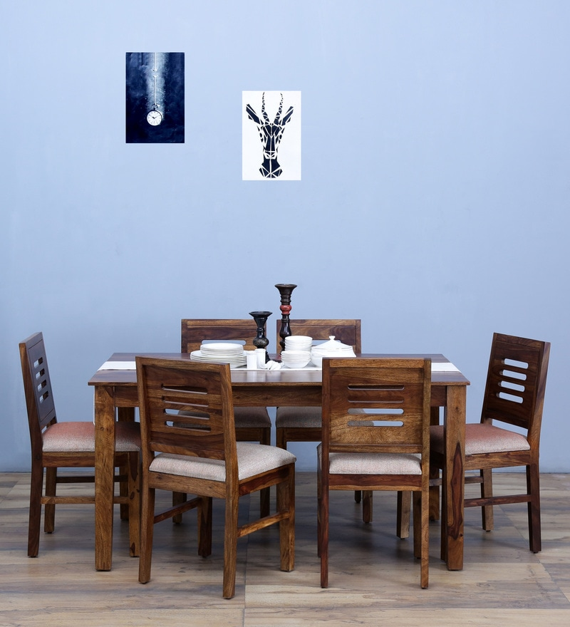 Valencia Six Seater Cushioned Dining Set in Provincial Teak Finish by Woodsworth