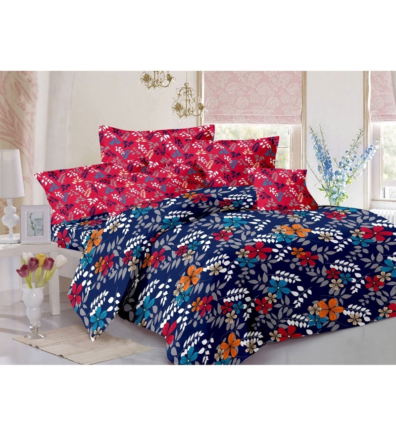 Valtellina Blue 100% Cotton Queen Size Zeba Bed Sheet - Set of 3