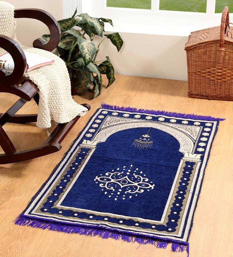 Blue Velvet 46 x 27 Inch Traditional Prayer Mat by Valtellina