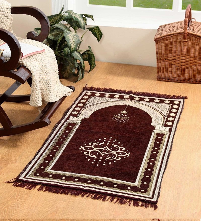 Brown Velvet 46 x 27 Inch Traditional Prayer Mat by Valtellina