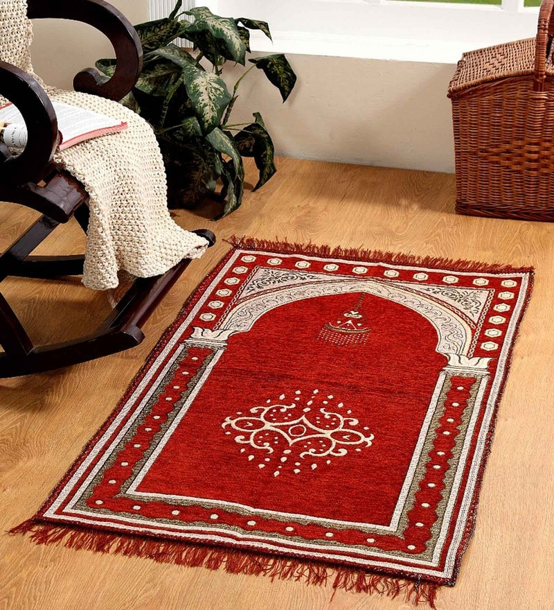 Valtellina Maroon Velvet 46 x 27 Inch Traditional Prayer Mat
