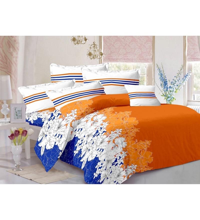 Orange 100% Cotton Queen Size Zeba Bed Sheet - Set of 3 by Valtellina