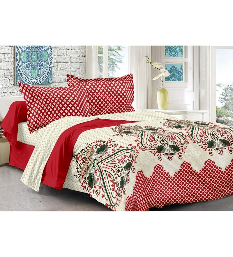 Red 100% Cotton Queen Size Della Bed Sheet - Set of 3 by Valtellina