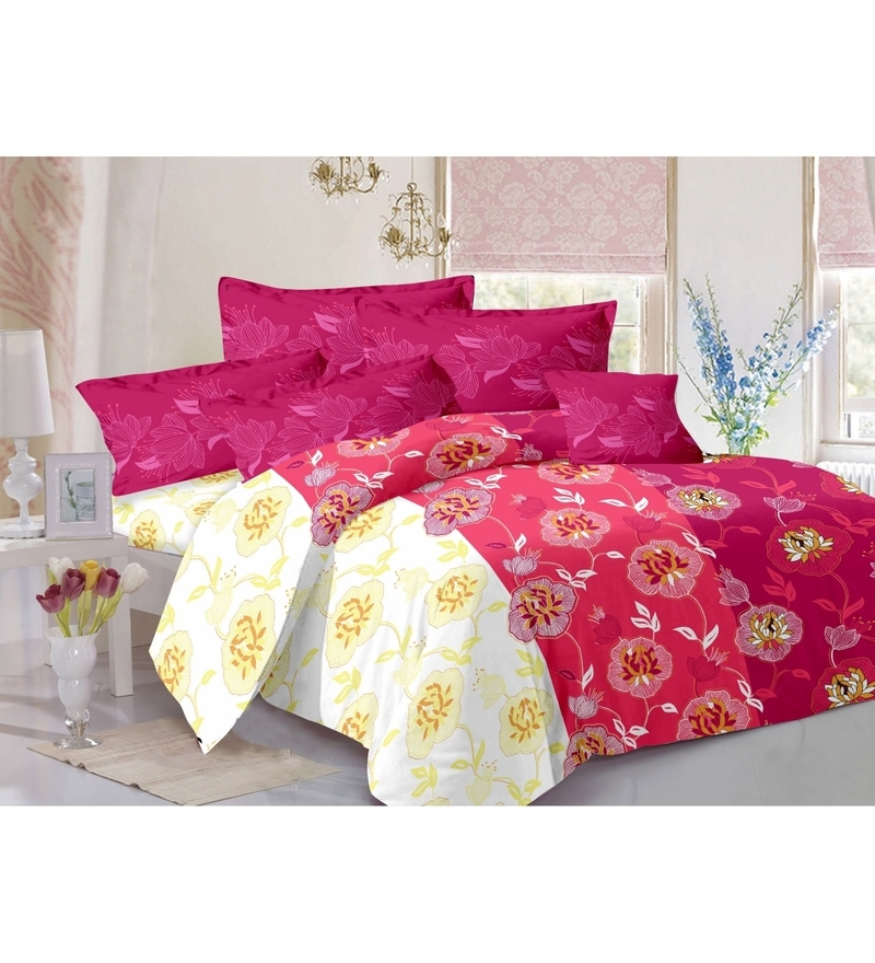 Red 100% Cotton Queen Size Diva Bed Sheet - Set of 3 by Valtellina