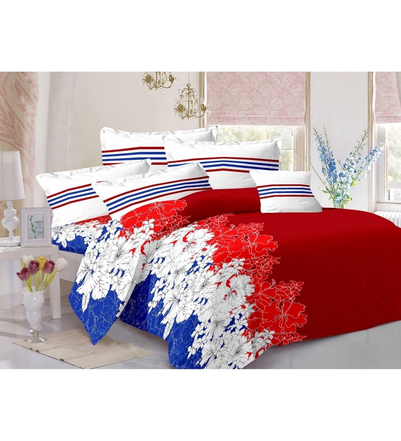 Red 100% Cotton Queen Size Zeba Bed Sheet - Set of 3 by Valtellina