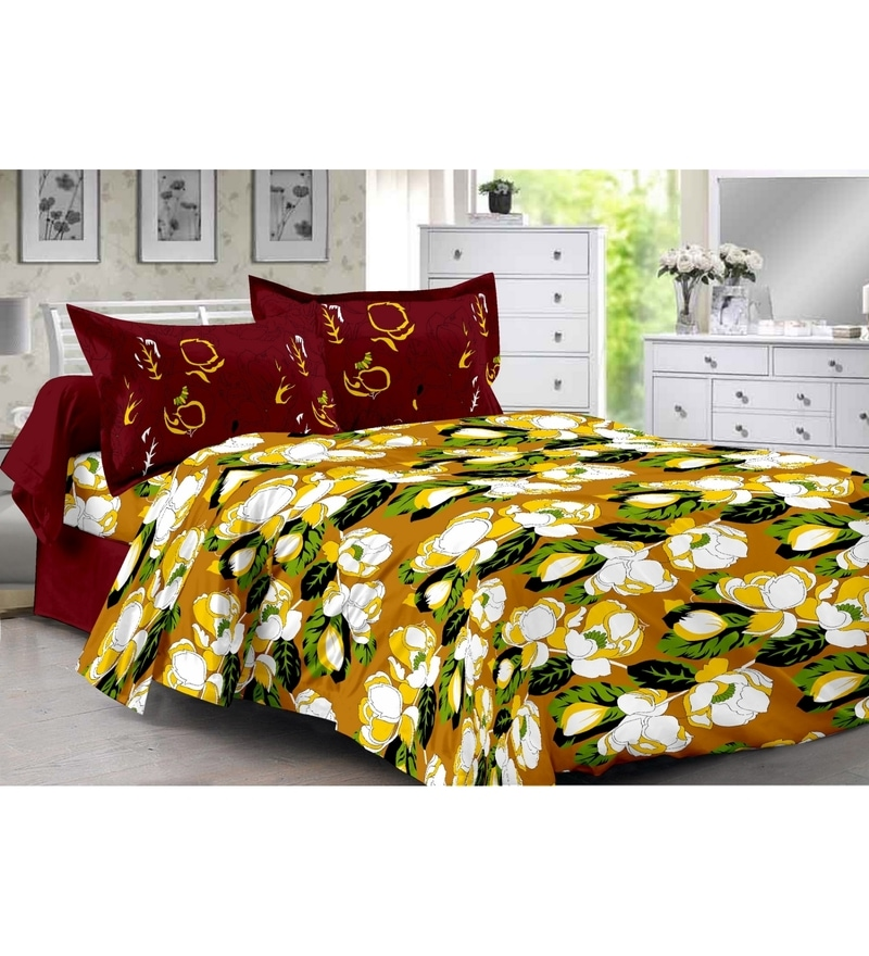 Valtellina Yellow 100% Cotton Queen Size Diva Bed Sheet - Set of 3