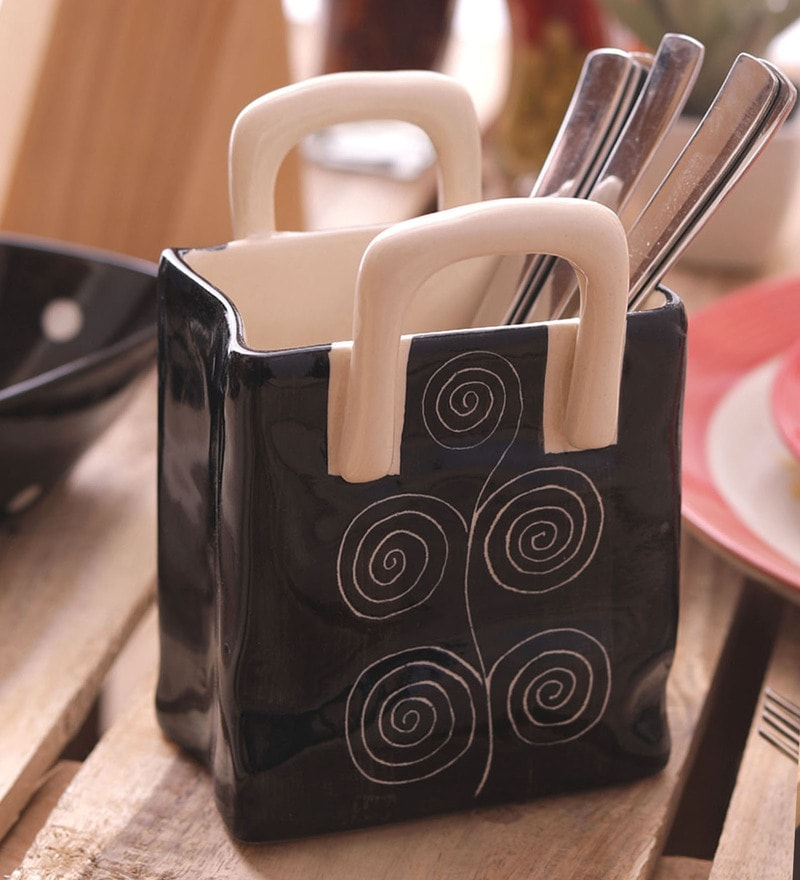 Vareesha Black Spiral Large Ceramic Cutlery Holder