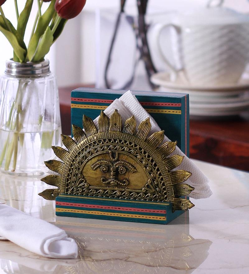 VarEesha Dhokra Work Sun Blue MDF Tissue Holder