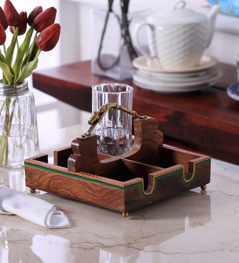 Vareesha Dhokra Work Wood & Brass Multipurpose Tray