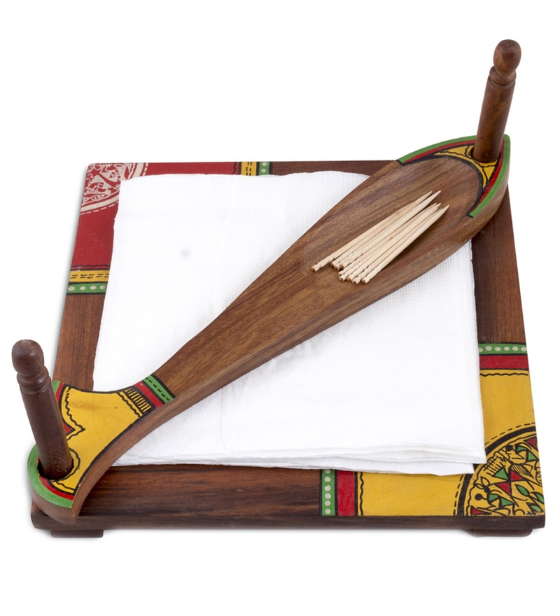 VarEesha Ethnic Fish Brown Sheesham Wood Tissue Holder