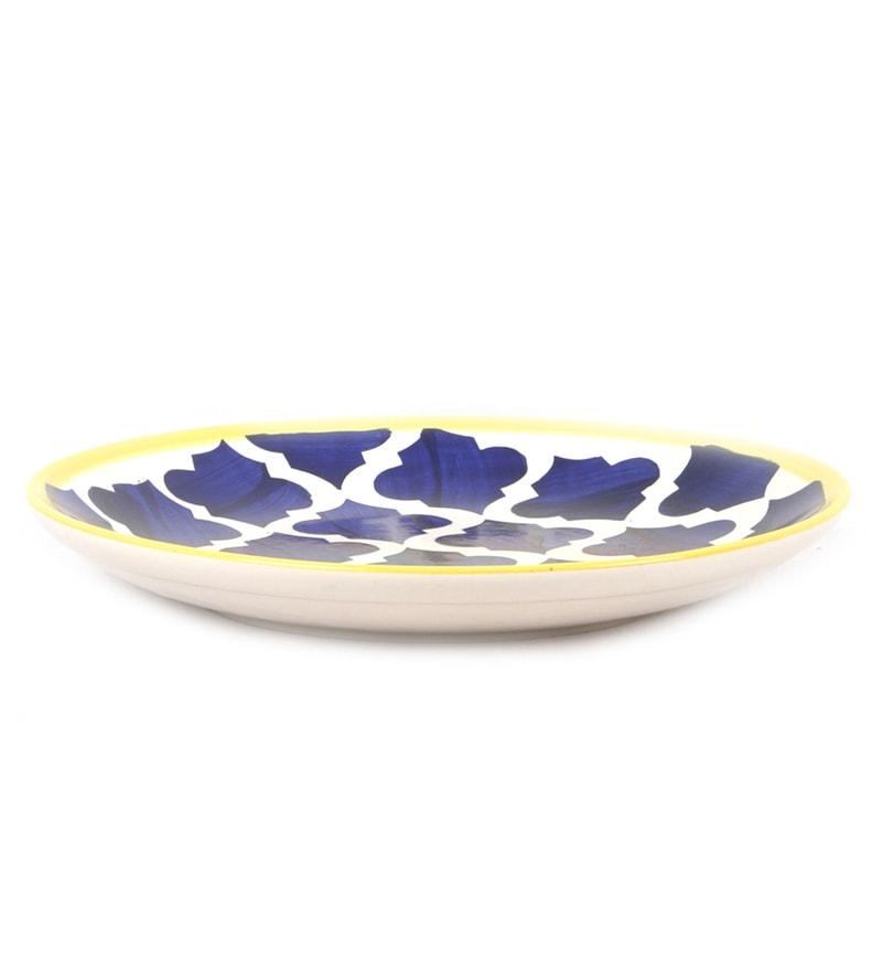 Buy Vareesha Hand Crafted Blue Ceramic Quarter Plates