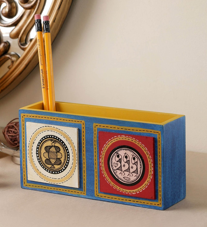 VarEesha Hand Crafted Engineered Wood Blue Tiled Double Pen Stand