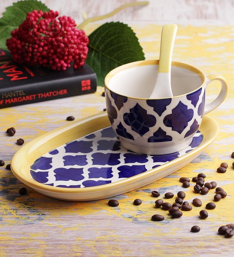 VarEesha Hand Made Blue Ceramic 300 ML Soup Set - Set of 6