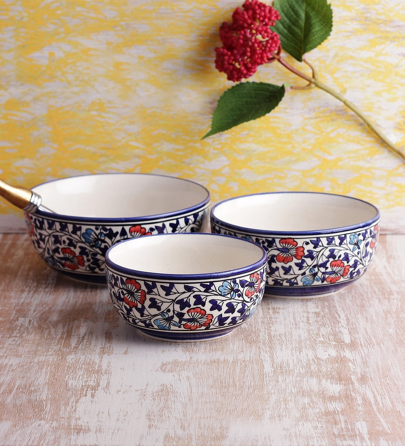VarEesha Ceramic Handmade Serving Bowl - Set of 3
