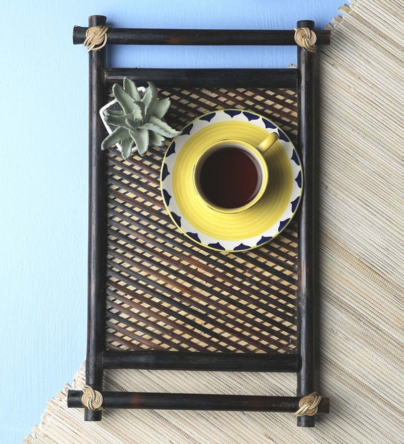 Vareesha Hand Made Pipe Cane Bamboo Serving Trays - Set Of 2