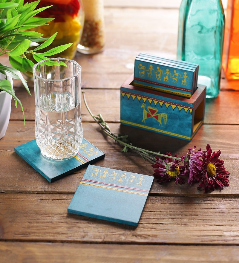 VarEesha Hand Painted Blue MDF Coasters eith Holder - Set of 7
