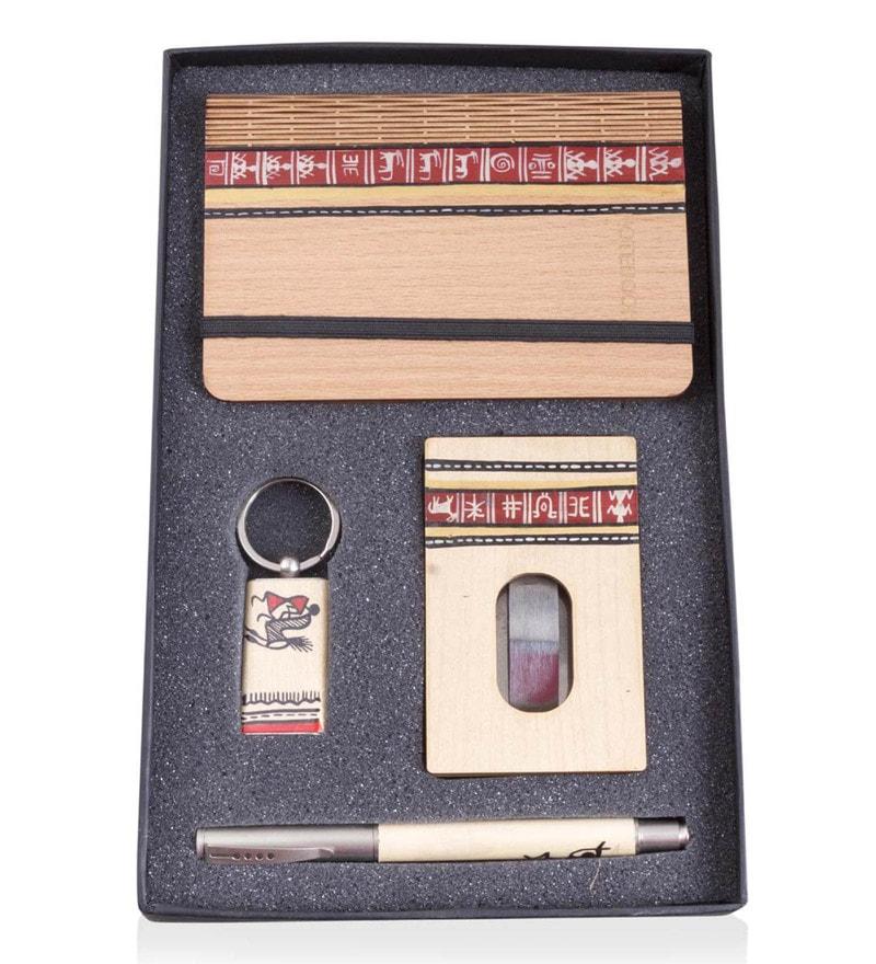 VarEesha Hand Painted Premium Engineered Wood Stationery Set