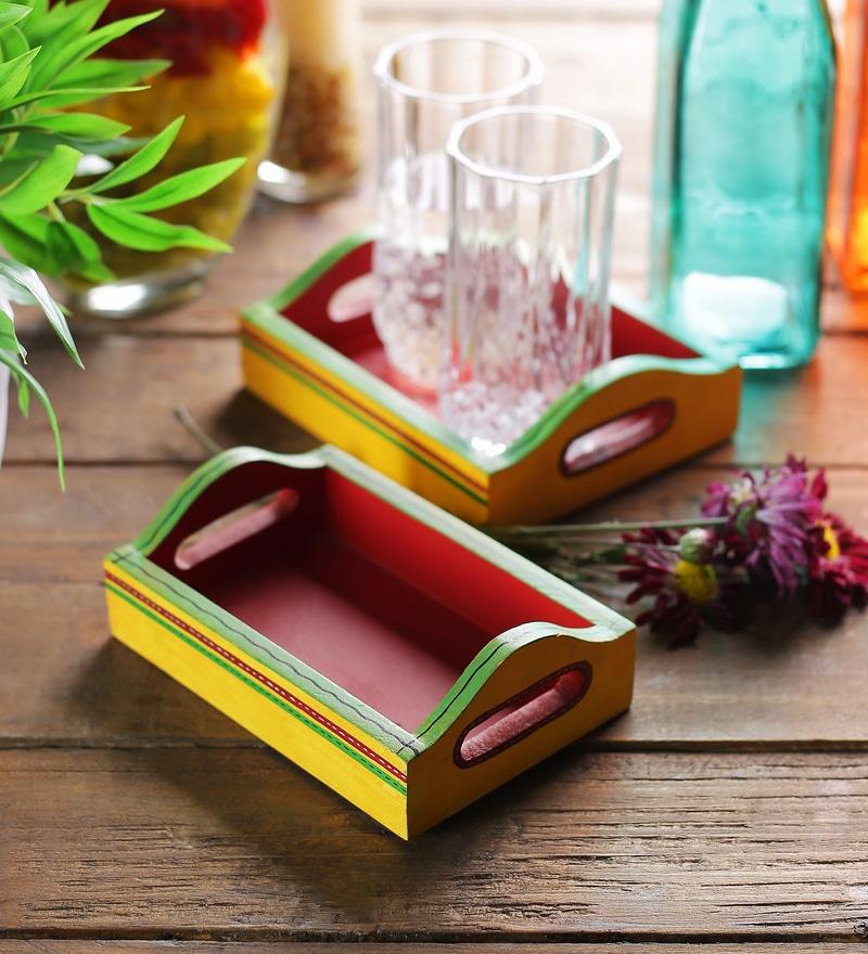 VarEesha Hand Painted Yellow & Red MDF Trays - Set of 2