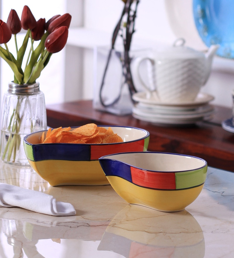 Vareesha Paisley Multicolour Ceramic Serving Plate - Set of 2