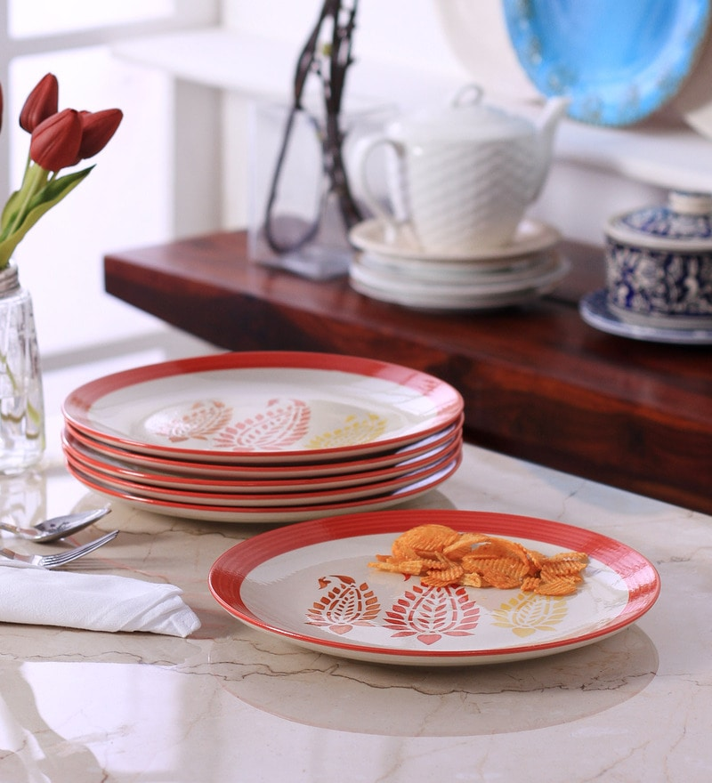 VarEesha Paisley Red Ceramic Full Plate - Set of 6